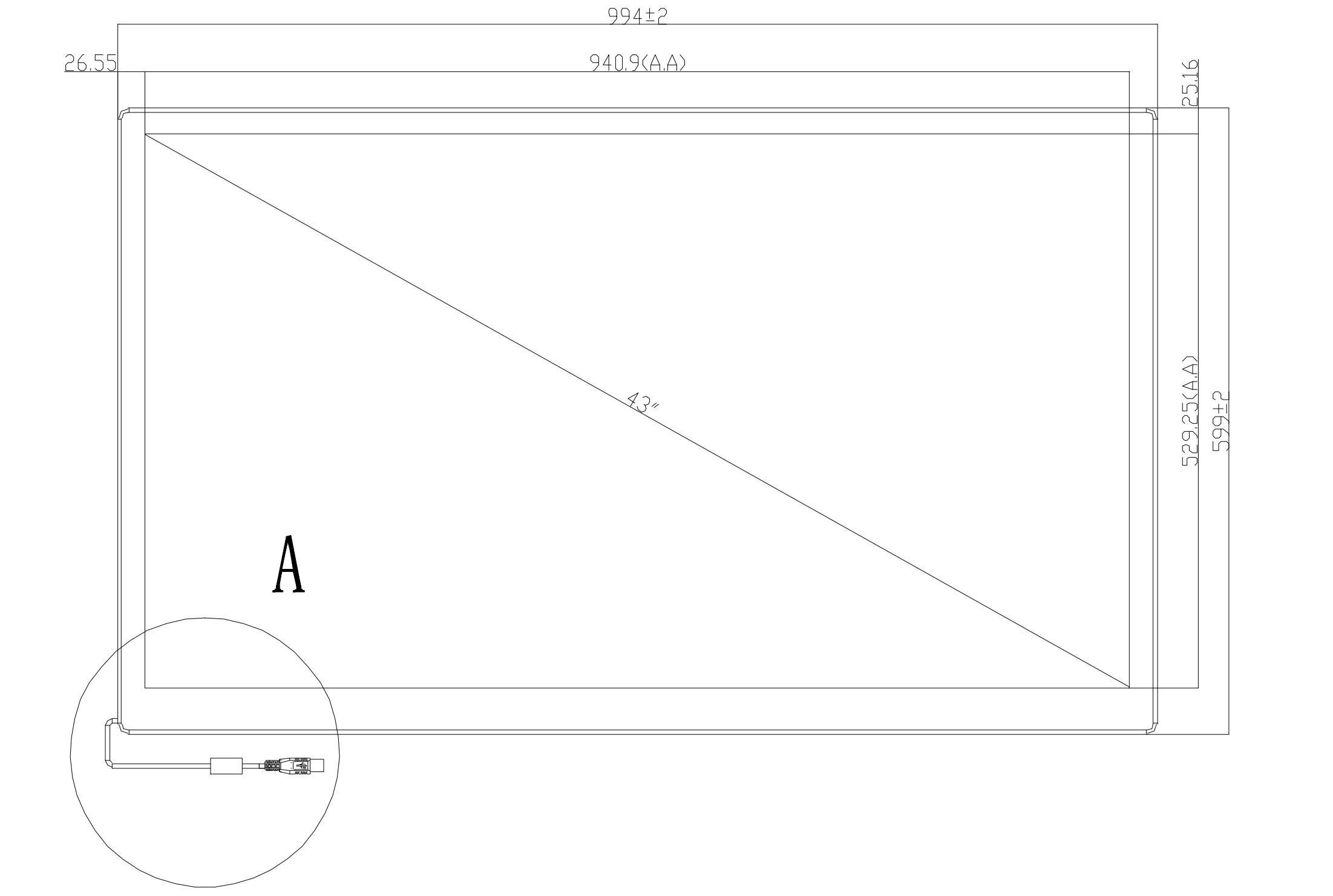Kích thước màn hình cảm ứng PQLabs G7 43inch